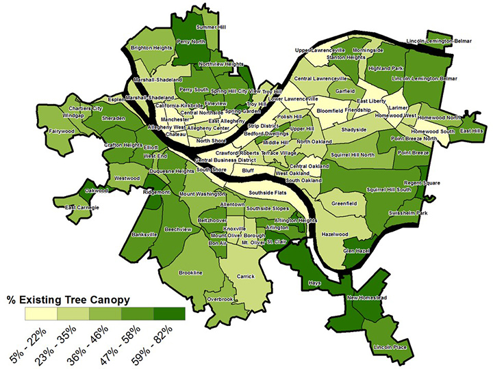 FIGURE 12. Pittsburgh, Pennsylvania Neighborhood Tree Canopy Map