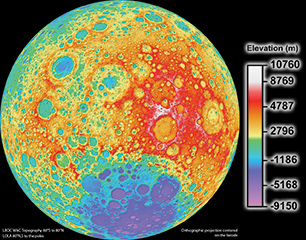 FIGURE 1. NASA's Lunar Reconnaisance Orbiter (LRO) topographic map of the moon was created with LRO's Wide Angle Camera and the Lunar Orbiter Laser Altimeter in 2011. The moon is mapped to a pixel scale of close to 328 feet.