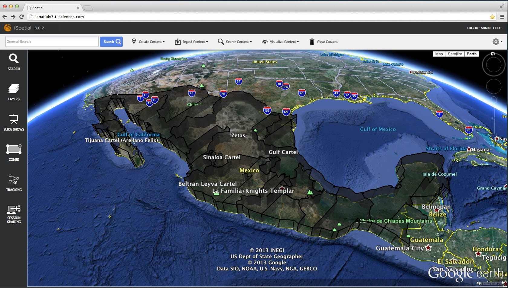 data overlaid on google earth displayed in 3d in ispatial shows comparative crime rates across mexico for the us southern command courtesy of thermopylae